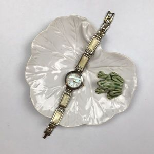 Vintage white gold watch rhinestone enamel Japan
